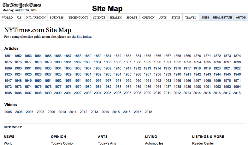 NYTimes HTML Sitemap