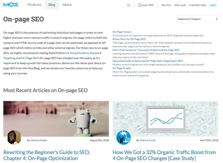 On-page SEO Category