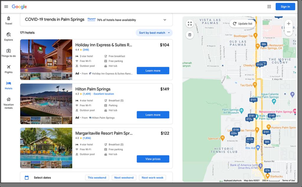 Google Travel Results